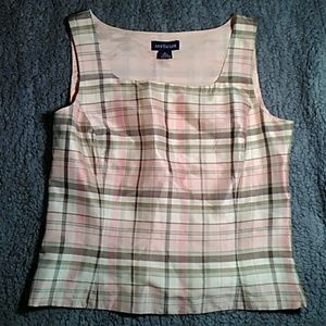 Pink, green, and cream plaid Ann Taylor blouse